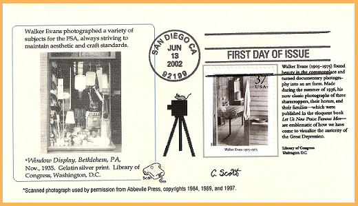 FDC for famous photographer, Walker Evans